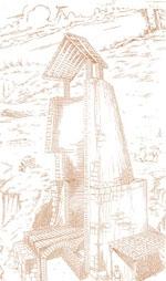 Ricostruzione grafica di una antica fornace per laterizi